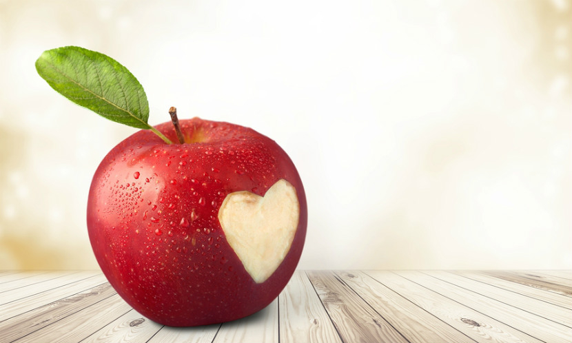 apple with heart shape on it