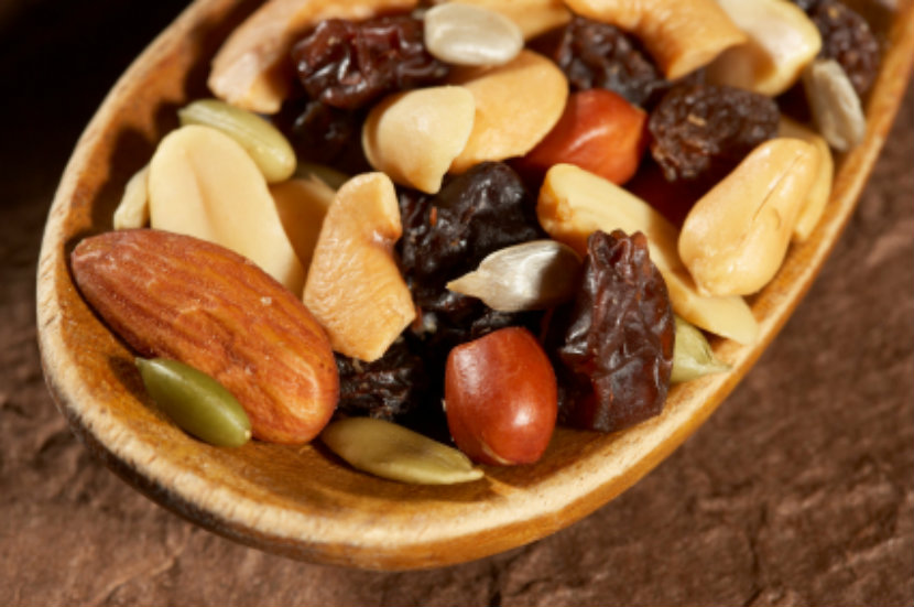 nuts, dried fruit, healthy snack, trail mix