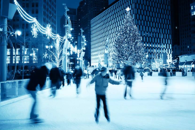 outdoor scene of someone skating during the holidays