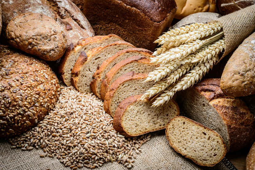 whole grain products like loaves and slices of bread,