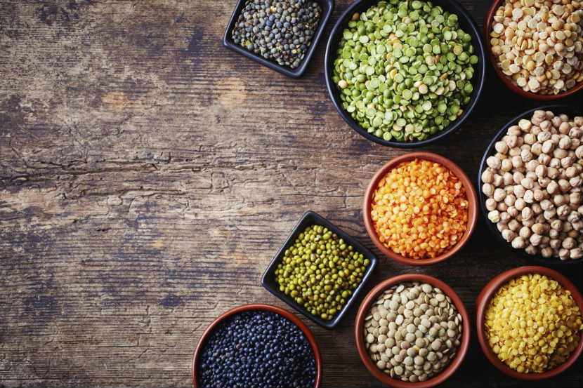 legumes, split peas, green peas, red lentils, black beans