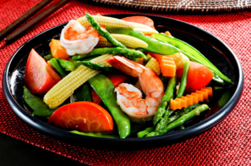 frozen vegetables, vegetable and shrimp stir fry