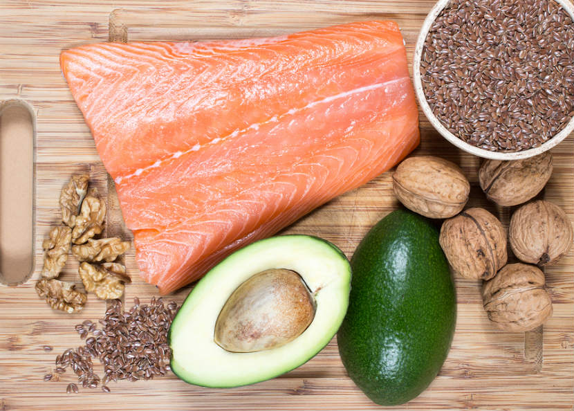 foods high in omega-3 fats like salmon, avocado and nuts