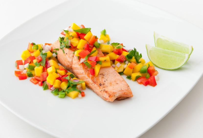 Tea Poached Salmon with Fruit Salsa - Eat Right Ontario
