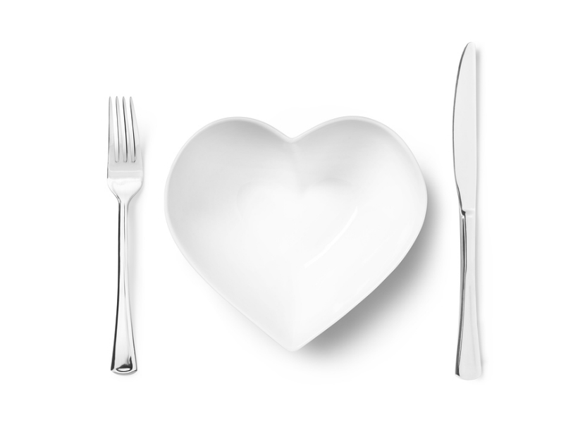 plate shaped like a heart with a knife and fork