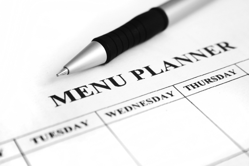 menu plannning form with a pen