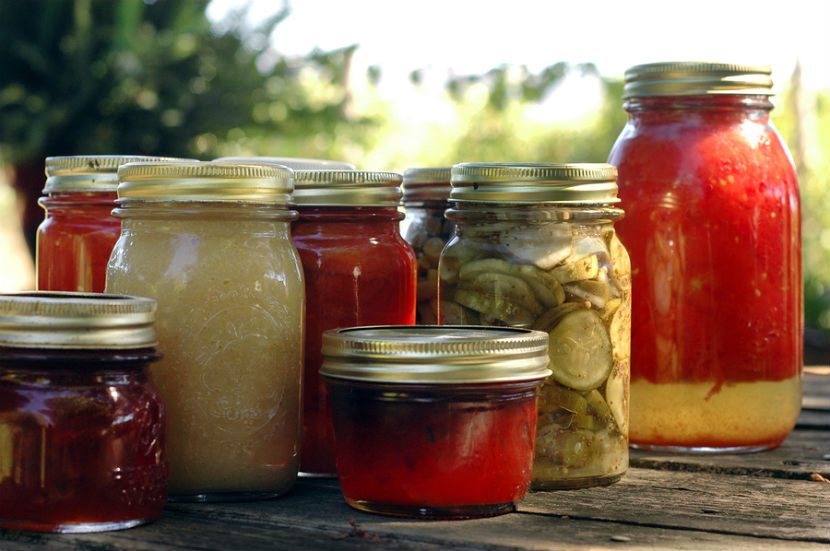 canned foods in mason jars