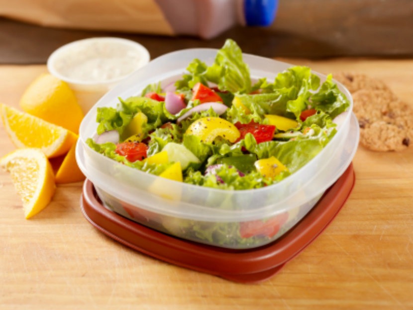 salad in a plastic container