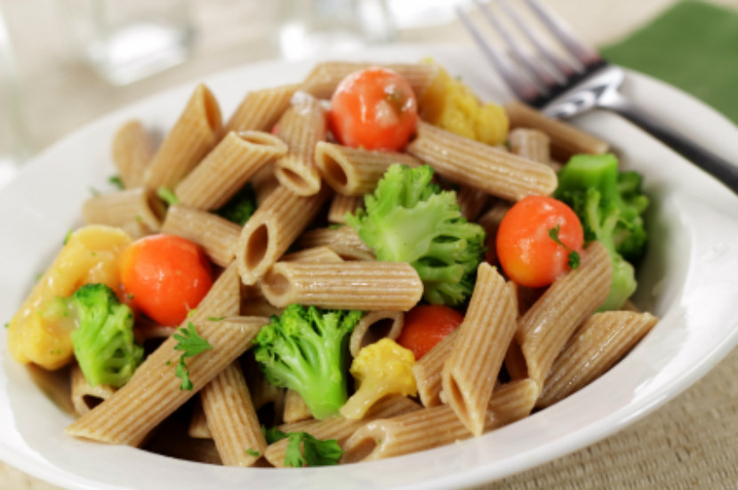 pasta salad made with whole wheat noodles