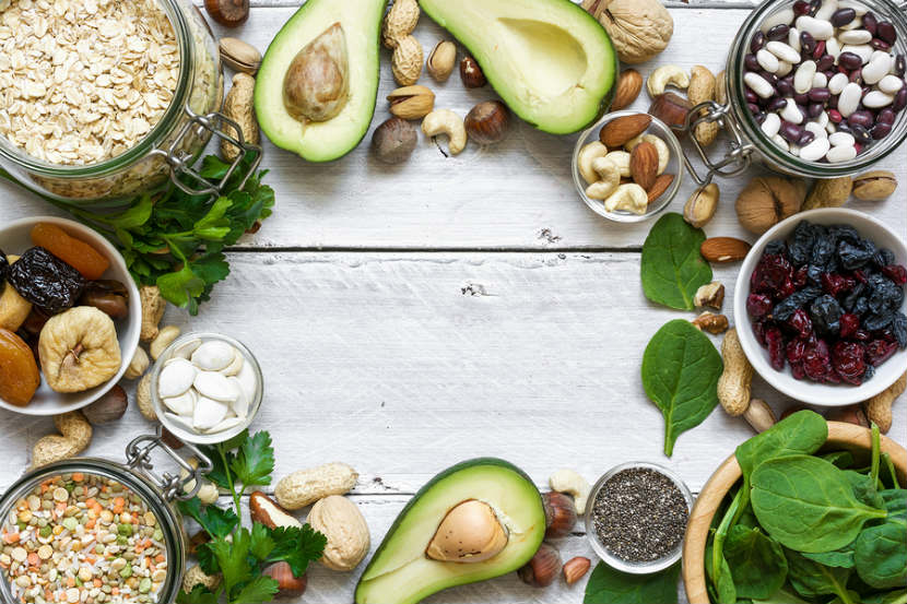 foods high in magnesium like nuts, avocado and dried fruit