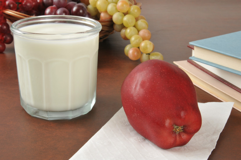 glass of milk and fruit