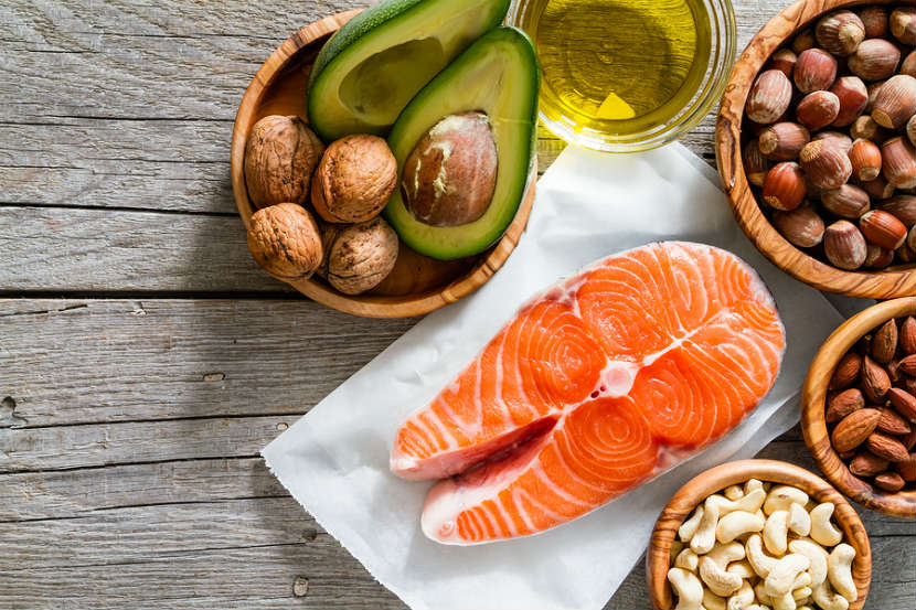 sources of omega 3 fats like avocado, salmon and oil