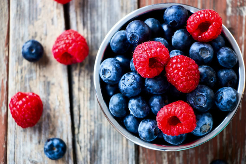 bowl of raspberries and blueberries