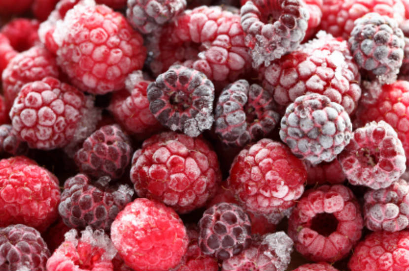 raspberries, frozen raspberries